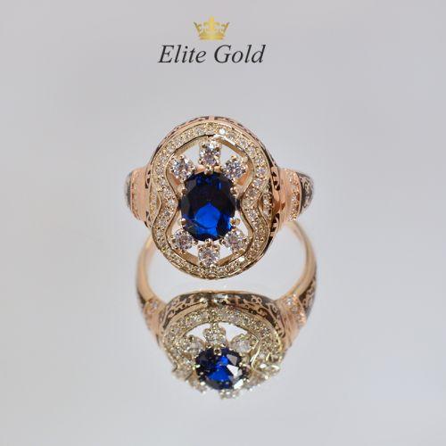 перстень в стиле бохо с камнем и эмалью