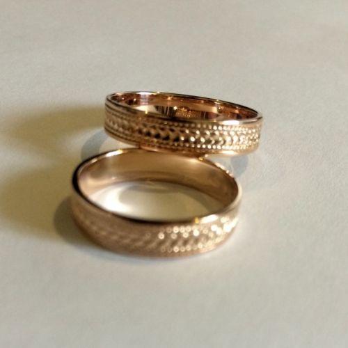 кольца косички с орнаментом без камней в красном золоте