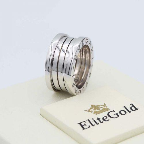 кольцо булгари реплика в белом золоте 4 спирали без камней живое фото