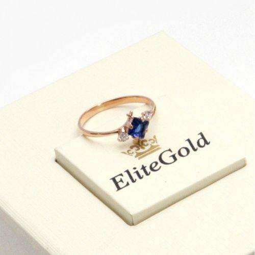 недорогое колечко для помолвки с камнями из красного золота