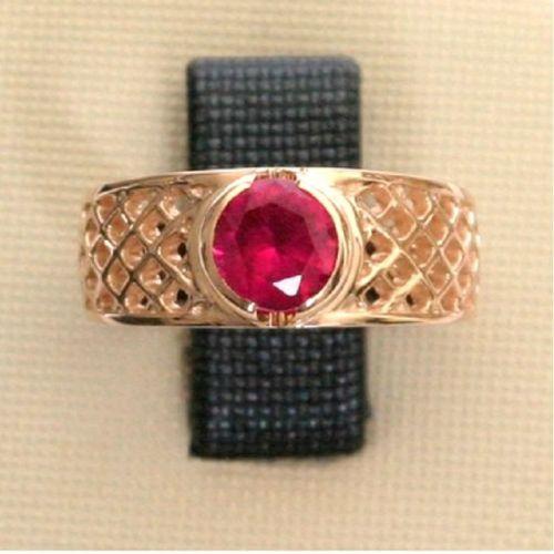 кольцо в сеточку с корундом