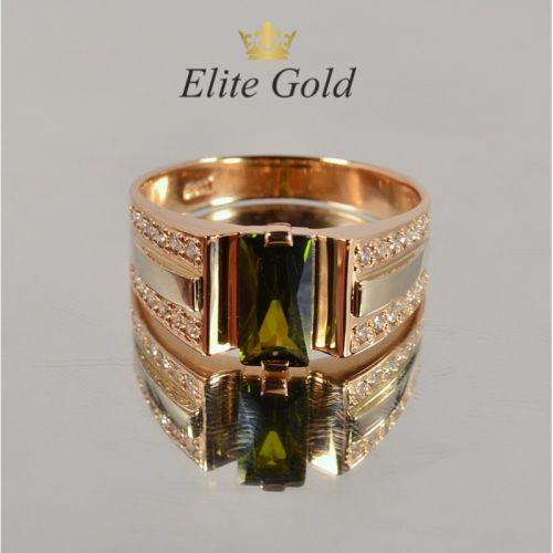 мужское кольцо с камнем цитрин формы багет