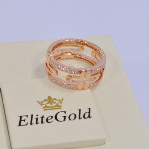 кольцо bvlgari parentesi с камнями в красном золоте