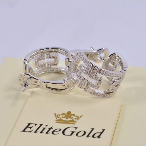 серьги в стиле bvlgari parentesi с камнями в белом золоте