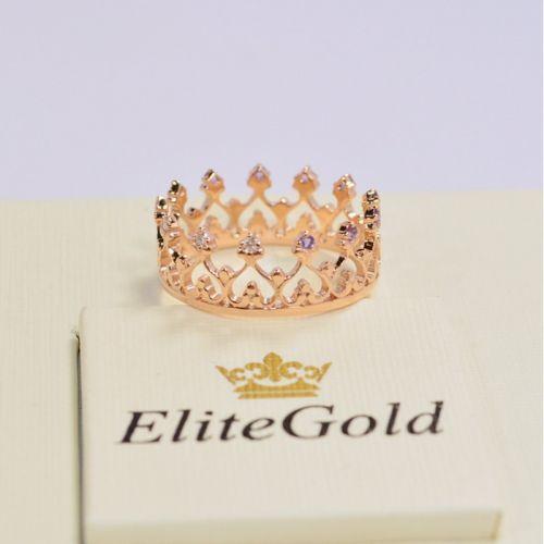 кольцо корона в красном золоте с аметистами