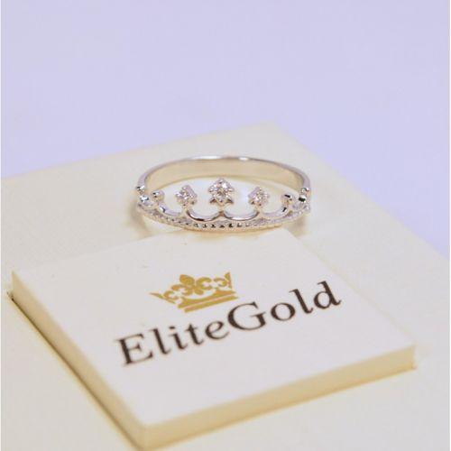 недорогое кольцо корона в белом золоте