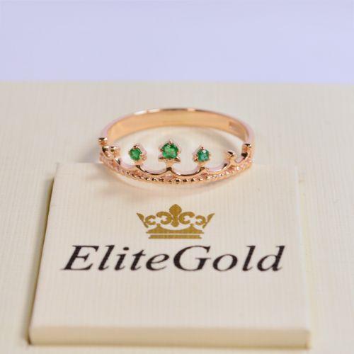 недорогое кольцо корона с зелеными камнями