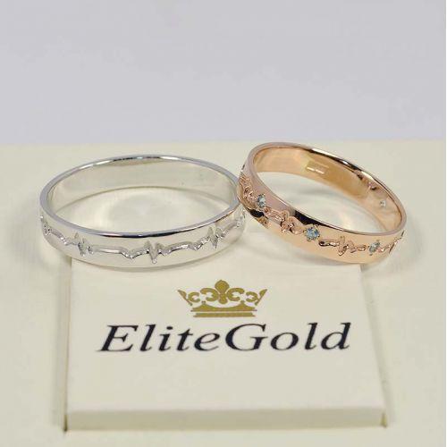 обручальные кольца пульс в красном и белом золоте и топазами