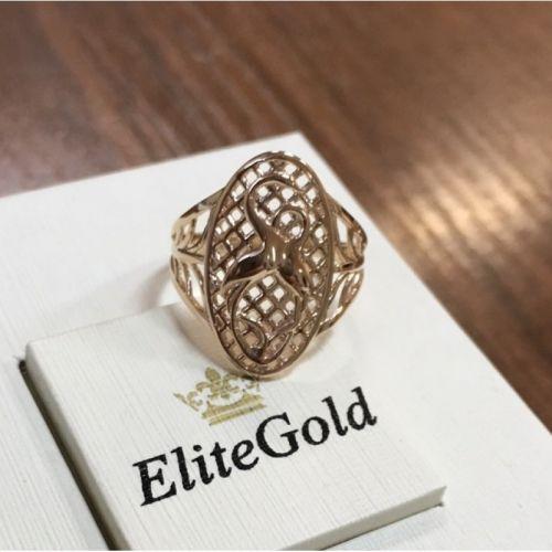 женское кольцо с аистами в красном золоте