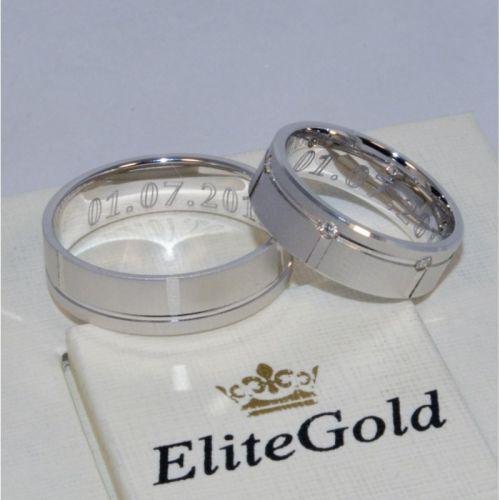 обручальные матовые кольца с камнями в белом золоте
