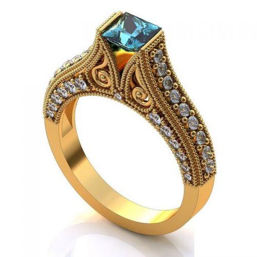 кольцо женское с узорами и вензелями и камнем