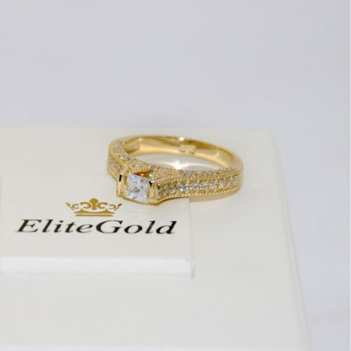 кольцо женское с узорами в лимонном золоте