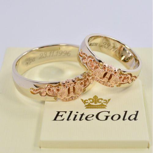обручальные кольца корона с узорами в красном и белом золоте