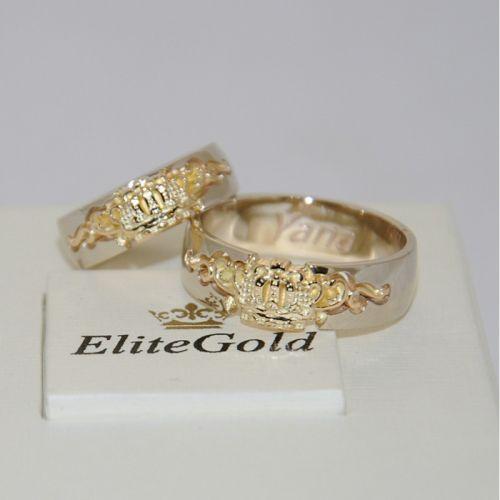 обручальные кольца корона с узорами в лимонном и белом золоте
