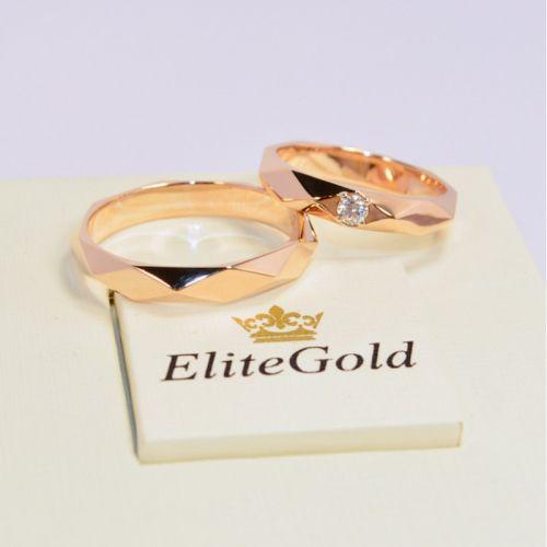 кольца обручальные бушерон в красном золоте