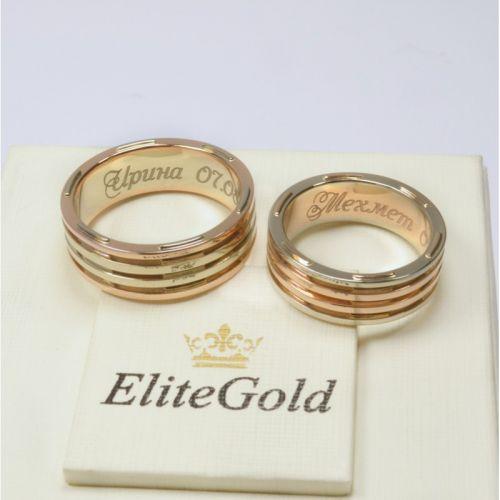 обручальные кольца авторские в красном и белом золоте