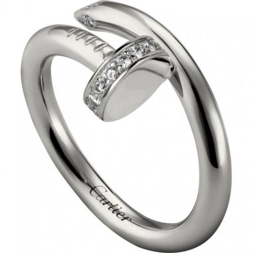 кольцо картье гвоздь с камнями на шляпке в белом золоте