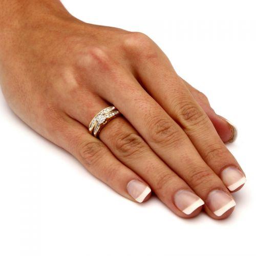 двойное кольцо сет для невесты на пальце
