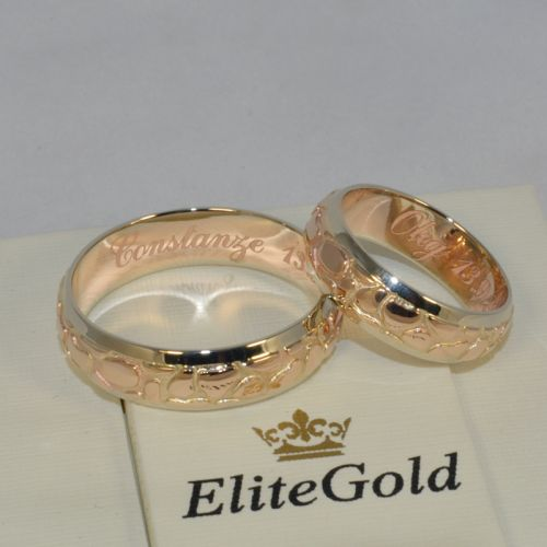 авторские обручальные кольца рельефные в красном и белом золоте