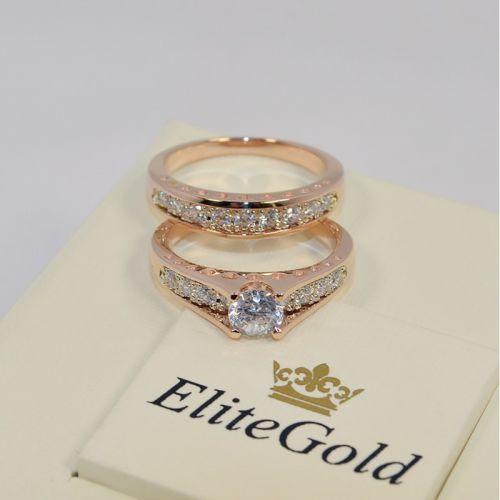 двойное кольцо сет для невесты в красном золоте вид издалека