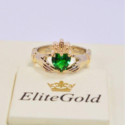 ирландское кольцо с зеленым фианитом