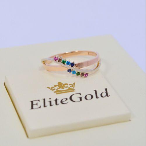 женское фигуристое кольцо с разноцветными фианитами