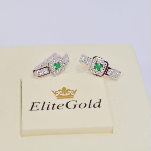 женские серьги с камнями в белом золоте с изумрудами