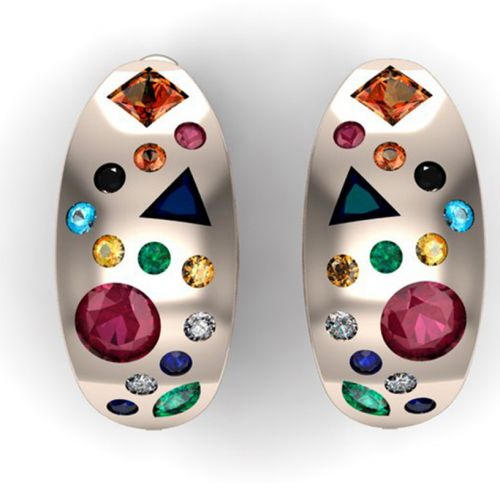 серьги бочонки с камнями
