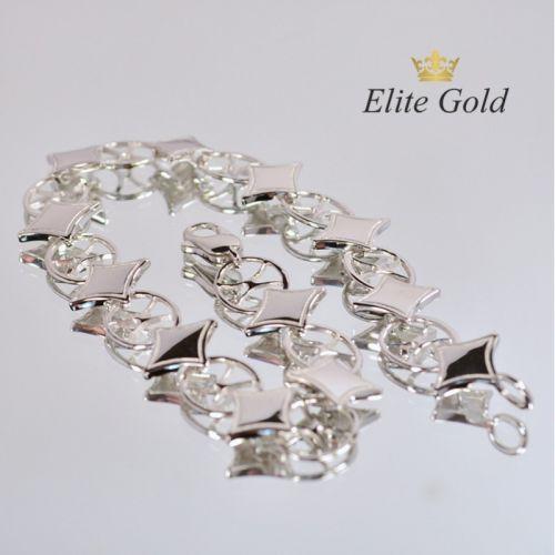 женский гибкий браслет с ромбами в белом золоте