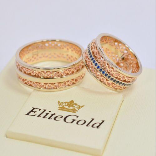 обручальные узорные кольца в красном и белом золоте мужское без камней