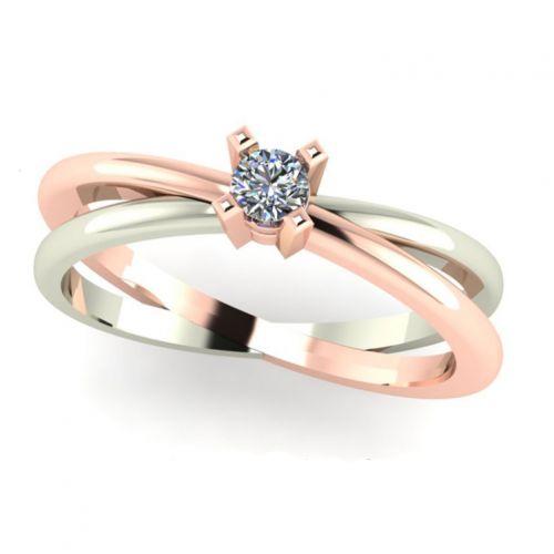 кольцо женское сдвоенное с перекрестьем