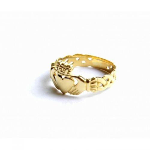 кладдахское ирландское кольцо без камней с плетением в лимонном золоте