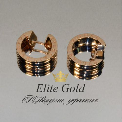 серьги в стиле bvlgari zero без камней в краном золоте elitegold