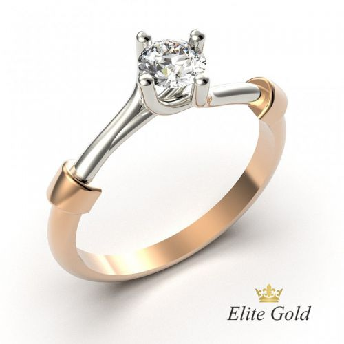 кольцо солитер для помолвки женское необычной формы