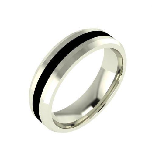 мужское кольцо с полосой эмали по центру