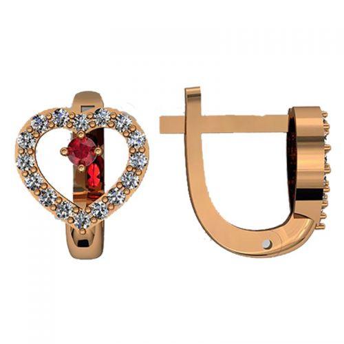 серьги в красном золоте с белыми камнями и красным по центру