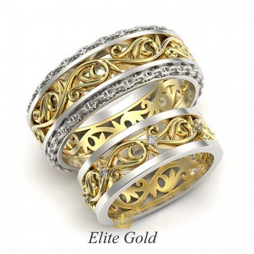 обручальные кольца с орнаментом в комбинированном золоте