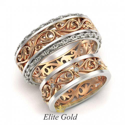 кольца в красном и белом золоте