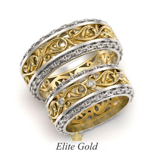 обручальные кольца Almeda в лимонном и белом золоте
