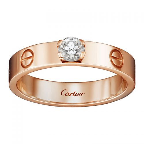 Кольцо в стиле Cartier Love, модель с одним камнем в центре
