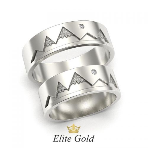 обручальные кольца Hills в белом золоте