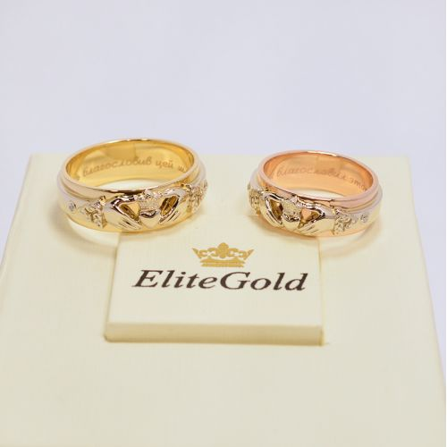 обручальные кладдахские кольца в комбинированном золоте