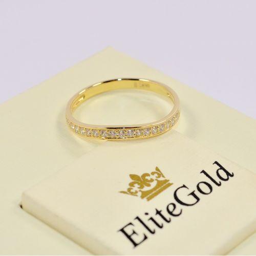 кольцо в лимонном золоте с белыми фианитами