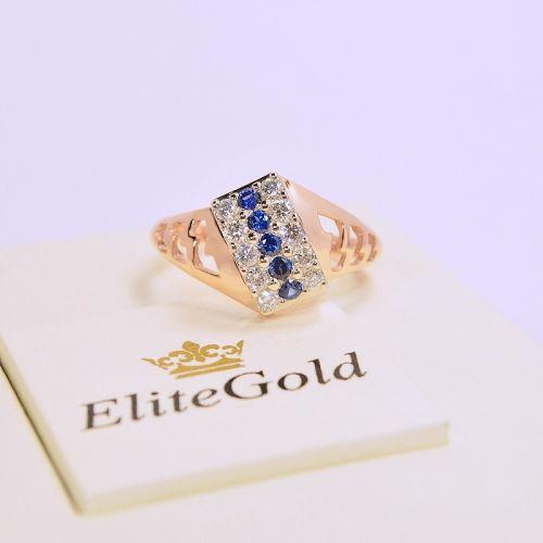 """Авторский женский перстень """"Garland"""" с синими и белыми камнями"""
