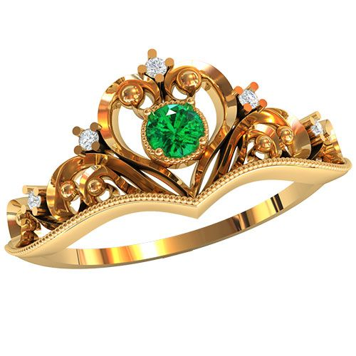 Кольцо-корона в красном золоте