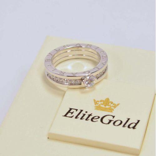 Кольцо в стиле BVLGARI ZERO в белом золоте