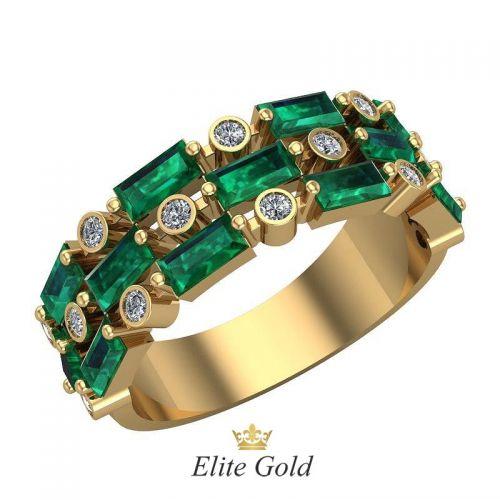 кольцо Emera с зелеными и белыми камнями