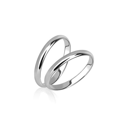 Тонкие обручальные кольца без камней в белом золоте