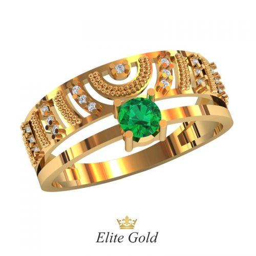 кольцо Demetra с зеленым камнем