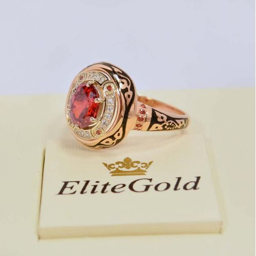 перстень Desert Sands с красными и белыми камнями